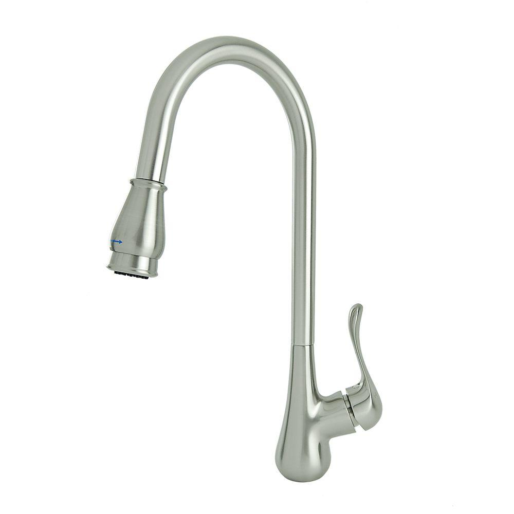 Carolina Single-Handle Pull-Down Sprayer Kitchen Faucet in Brushed Nickel