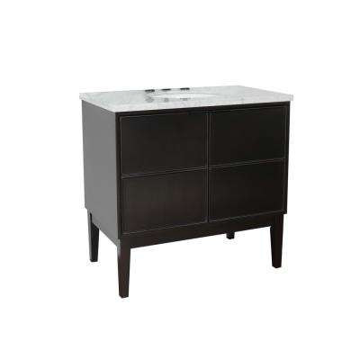 Scandi IV 37 in. W x 22 in. D Bath Vanity in Cappuccino with Marble Vanity Top in White with White Oval Basin