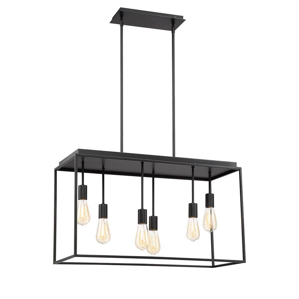 Home Decorators Collection Rollins 6-Light Black Pendant