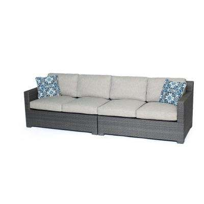 Metropolitan Grey 2-Piece Aluminum All-Weather Wicker Patio Loveseat Conversation Set with Silver Lining Cushions