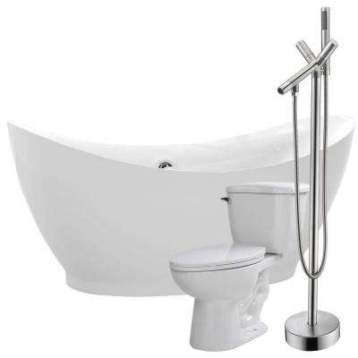 Reginald 68 in. Acrylic Flatbottom Non-Whirlpool Bathtub in Glossy White with Havasu Faucet and Kame 1.28 GPF Toilet