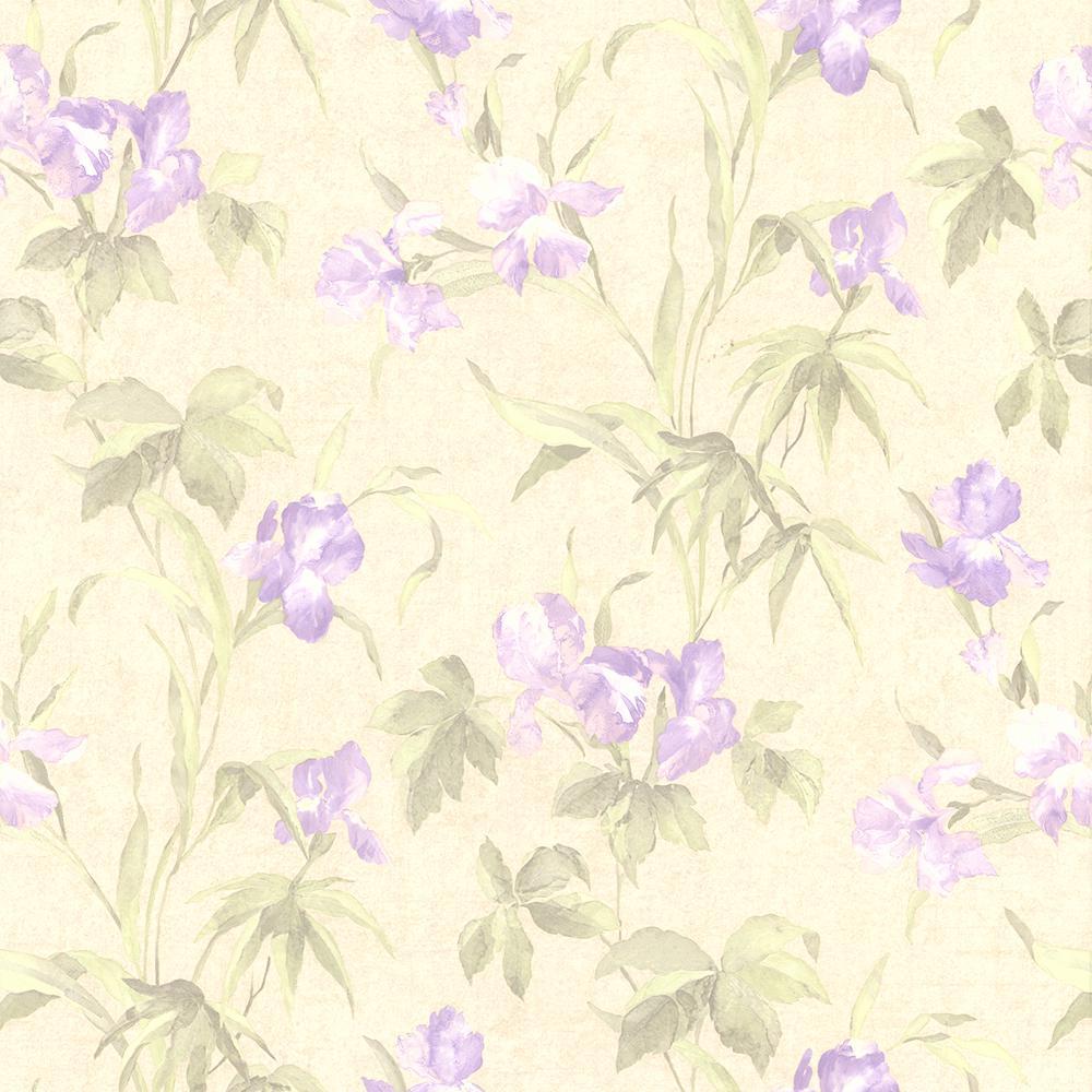 56.4 sq. ft. Edith Lavender Satin Lily Wallpaper