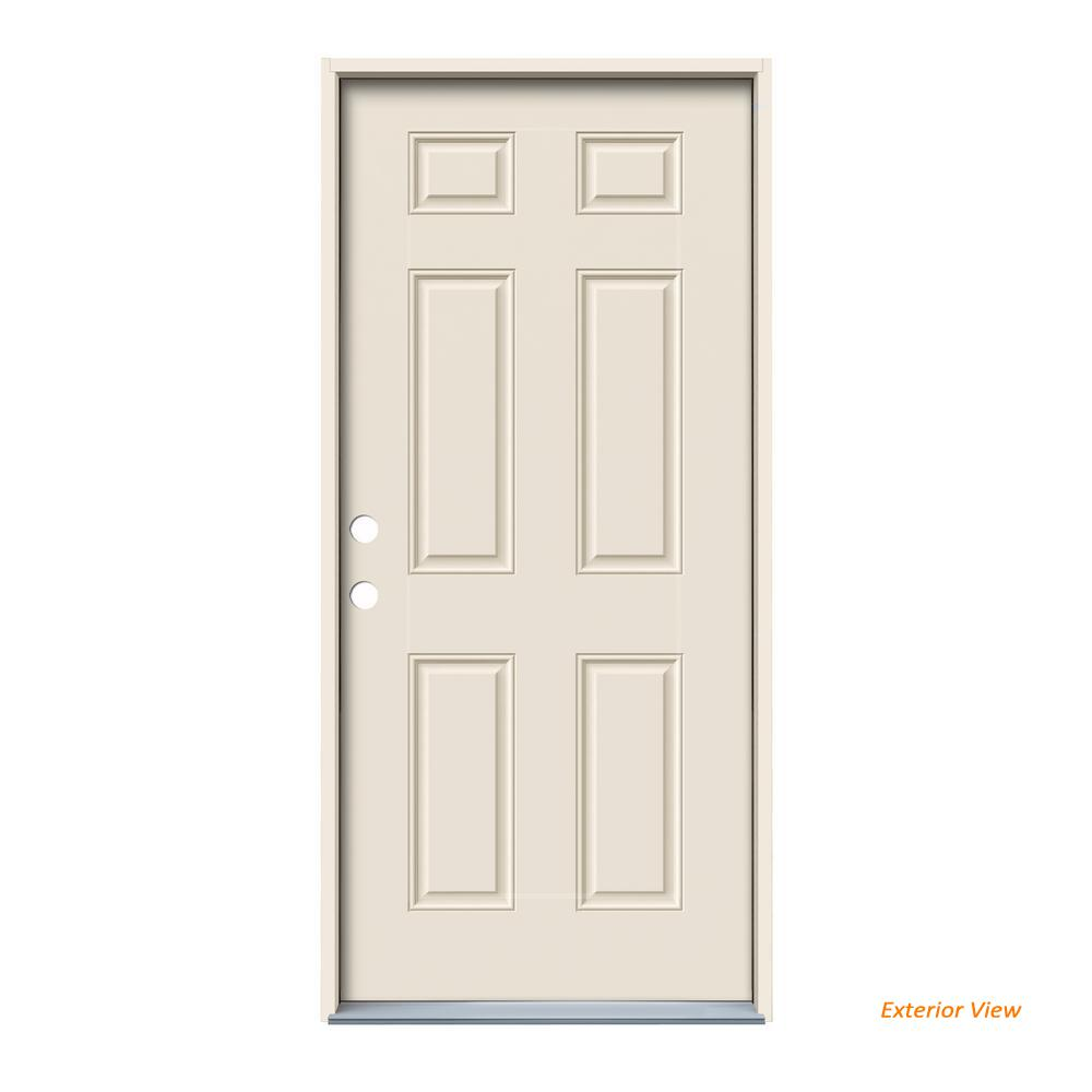 32 in. x 80 in. 6-Panel Primed Fiberglass Prehung Right-Hand Inswing