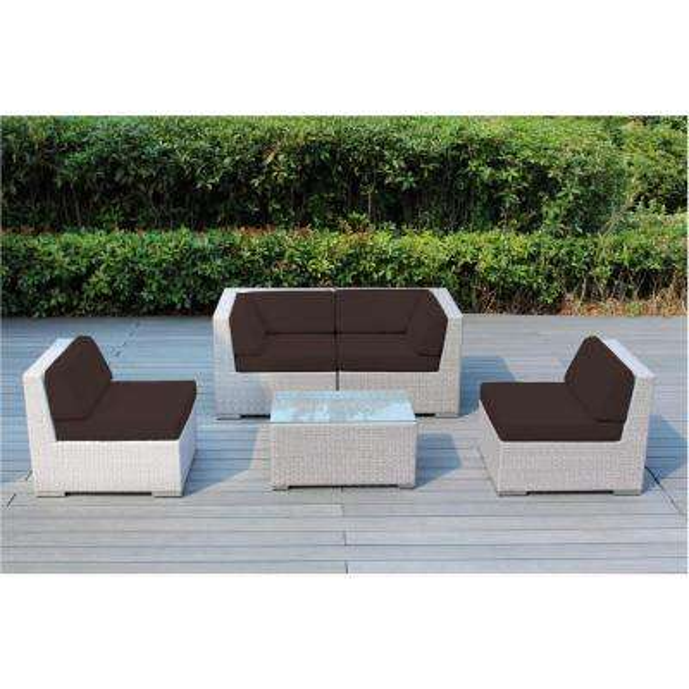 Ohana Gray 5-Piece Wicker Patio Seating Set with Spuncrylic Brown Cushions