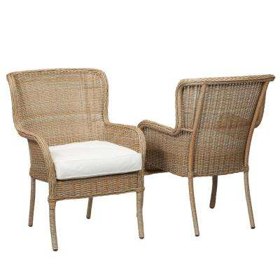 Lemon Grove Custom Stationary Wicker Outdoor Dining Chair (2-Pack) with Cushions Included, Choose Your Own Color