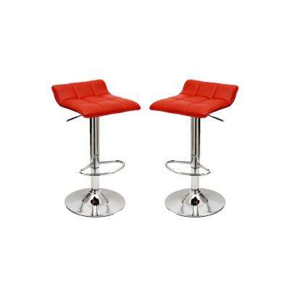 Sleek Varick Red Barstool with Height Adjustability (Set of 2)