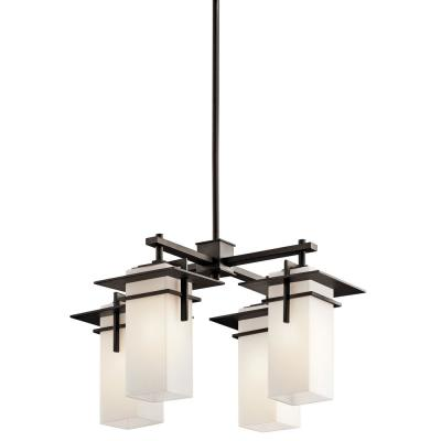 Caterham 4-Light Olde Bronze Outdoor Hanging Chandelier with Satin Etched Glass Shades