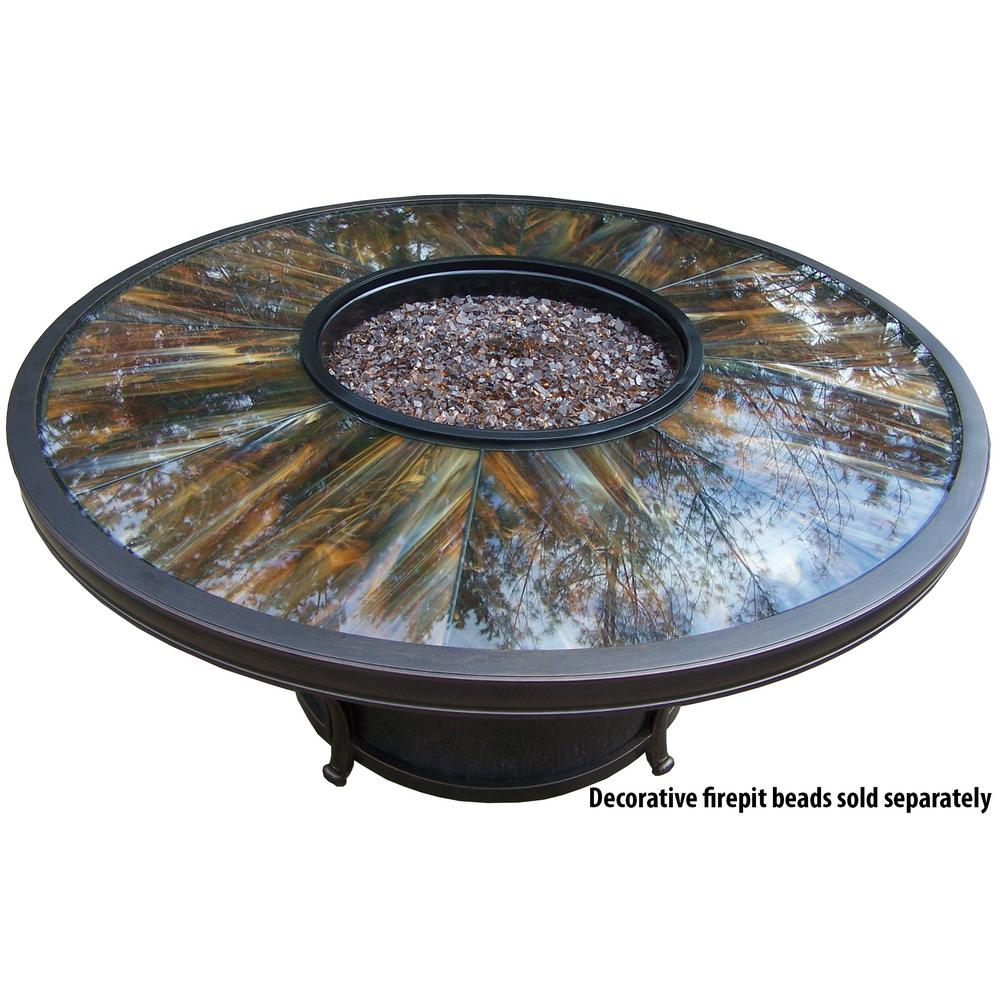Round Gas Firepit Table With Tempered Glass Top