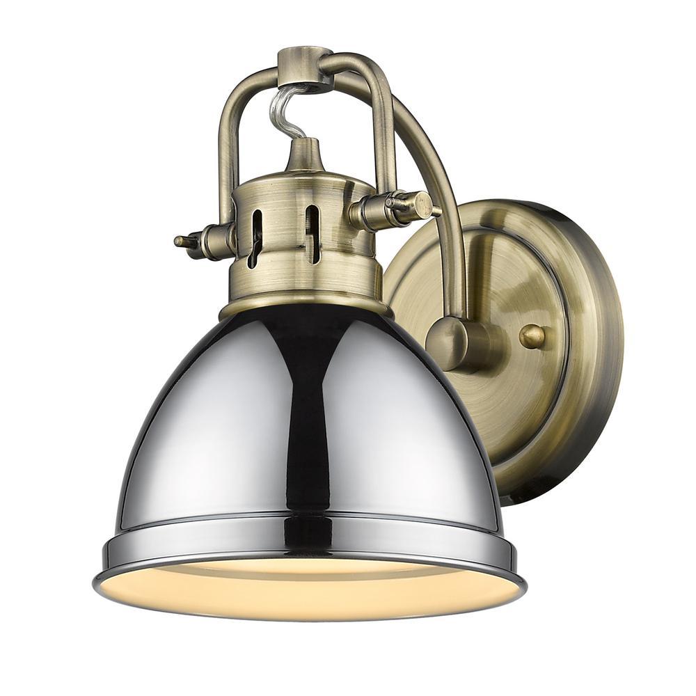 Duncan 4.875 in. 1-Light Aged Brass Vanity Light