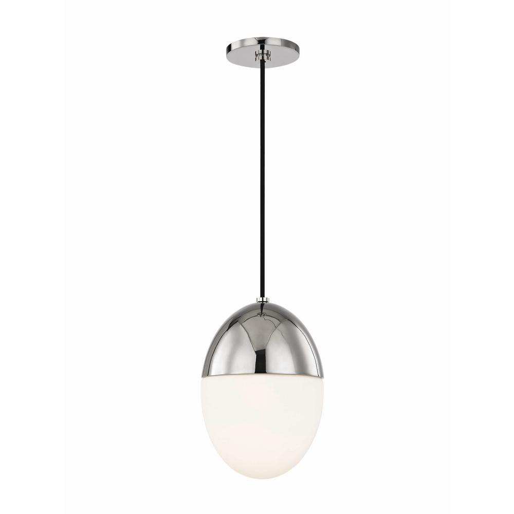 Orion 1-Light 7.5 in. W Polished Nickel Pendant with Opal Matte