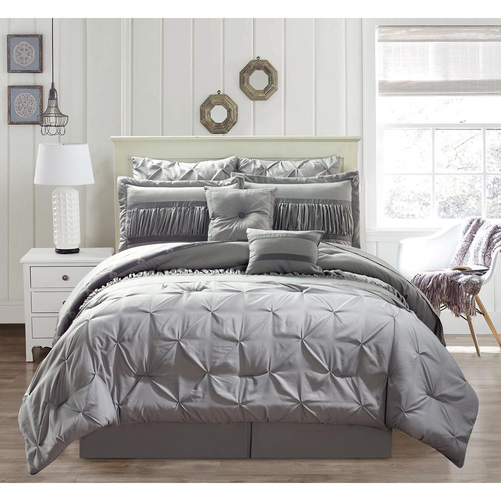 Marlin 10 Piece Queen Comforter Set in Silver