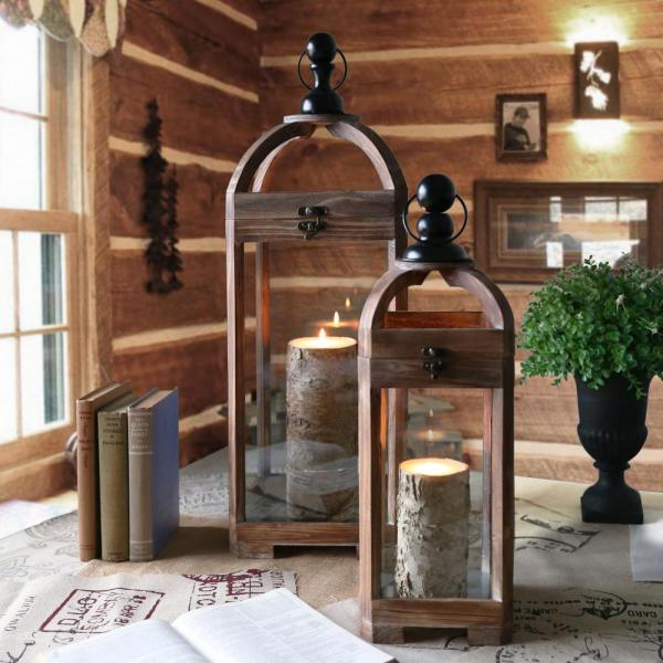 Urban Trends Collection Brown Candle Wooden Decorative Lantern