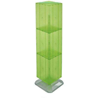 64 in. H x 14 in. W Styrene Pegboard Tower Floor Display on Revolving Base in Green