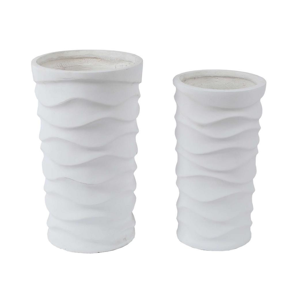 White Tall Wavy Composite MgO Planters (2-Piece)