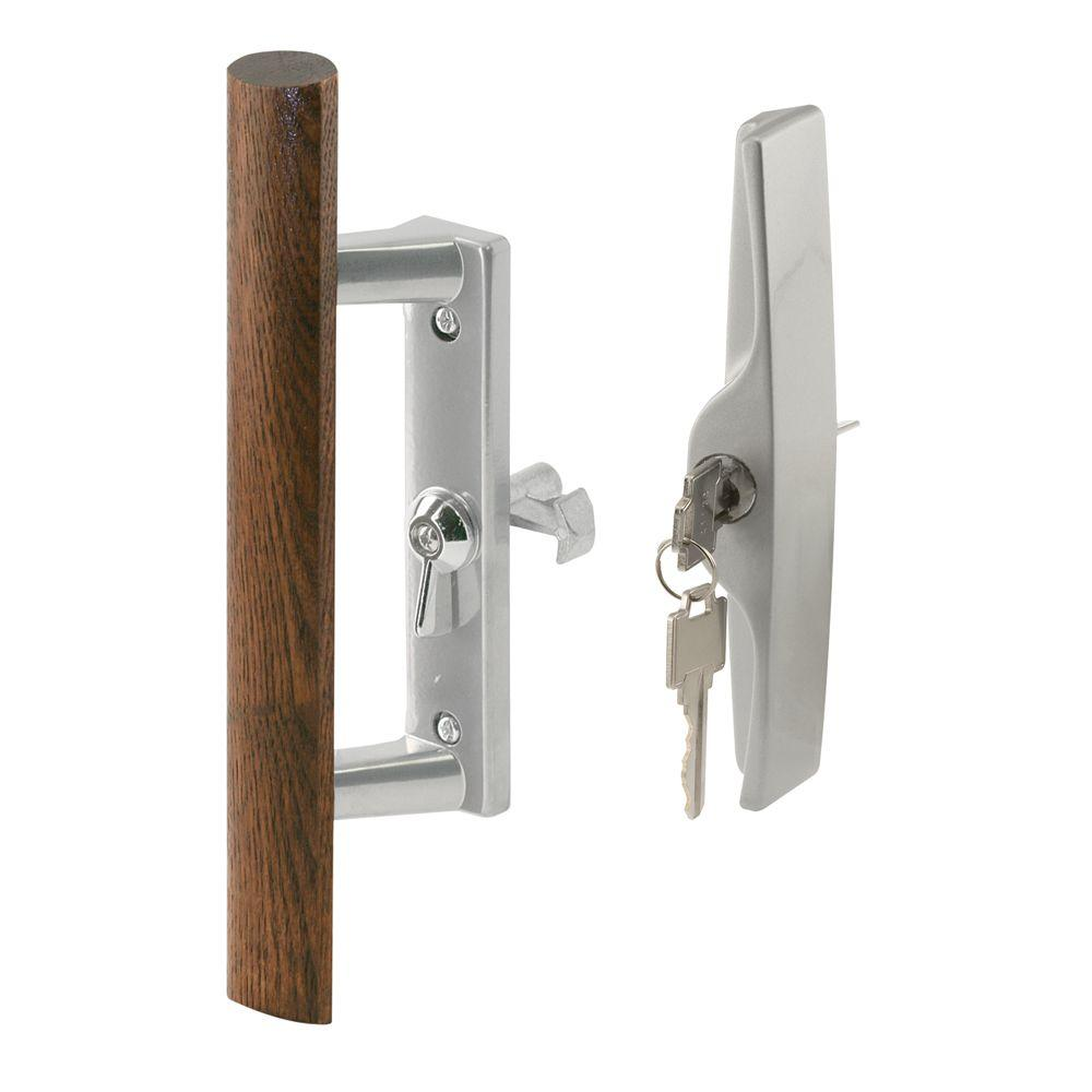 Keyed Wood Pull Internal Door Handle Set in Gray