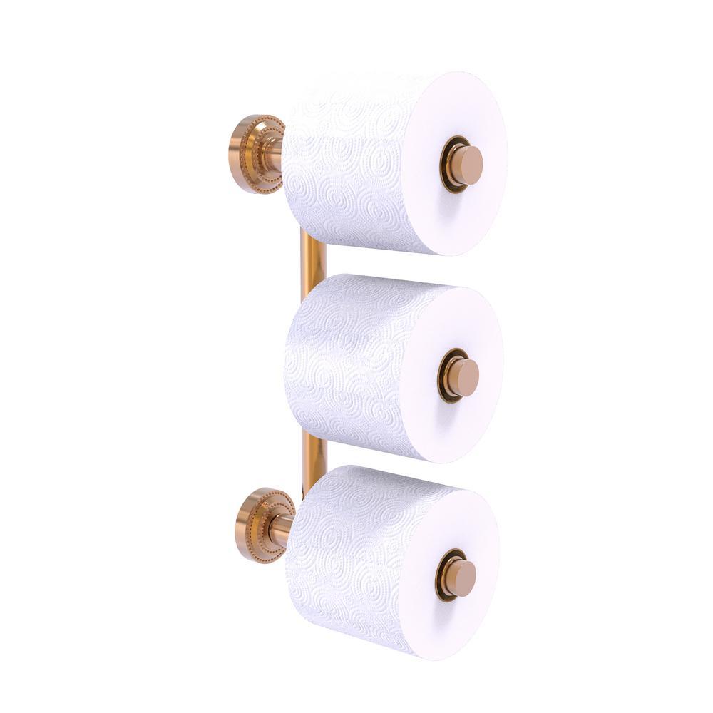 Dottingham 3 Roll Reserve Roll Toilet Paper Holder in Brushed Bronze