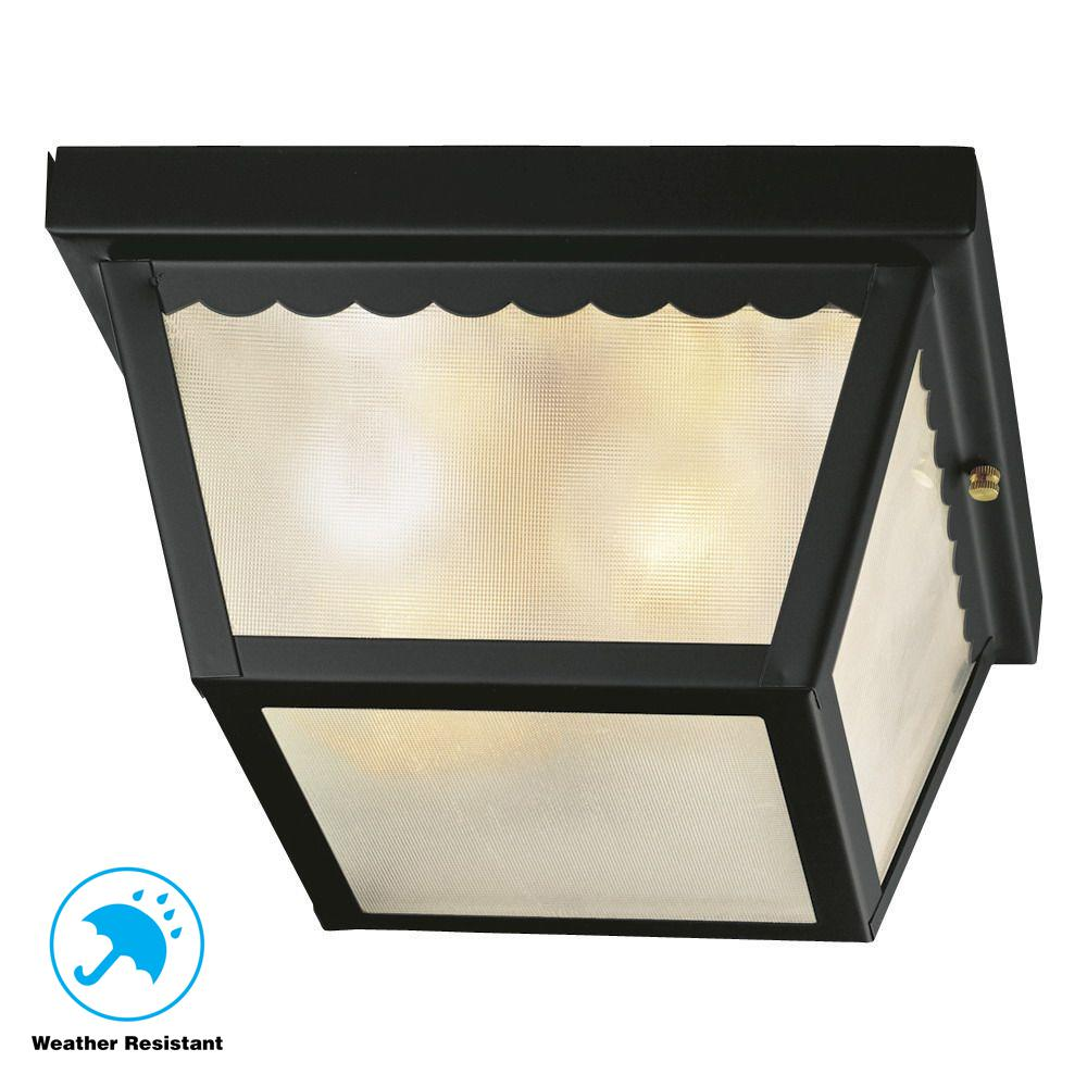 outdoor flush mount light small hampton bay 2light matte black outdoor flushmount flushmountwb0325 the home