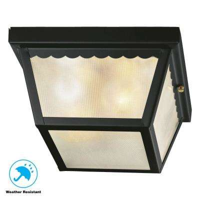 2 Light Matte Black Outdoor Flushmount