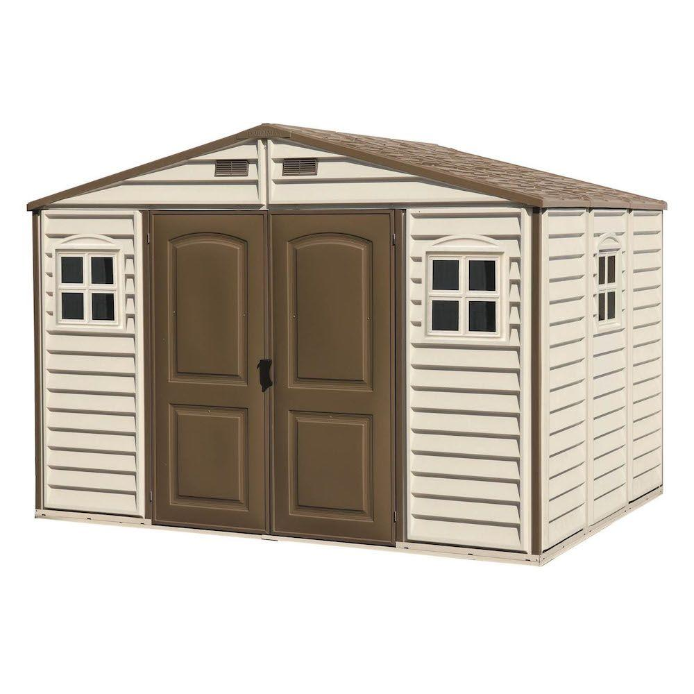 Duramax Building Products Woodside 10 ft. x 8 ft. Vinyl Shed with Foundation and Window
