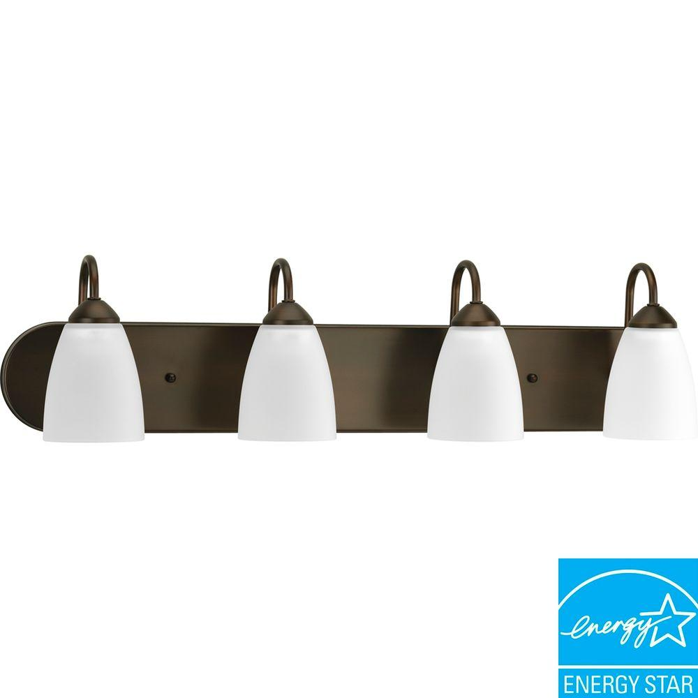 Gather Collection 4-Light Antique Bronze Fluorescent Vanity Light with Etched