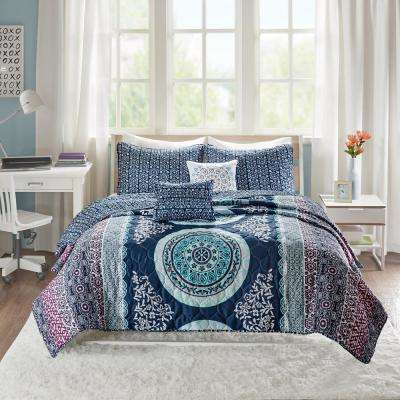 Eleni 5-Piece Navy Full/Queen Boho Coverlet Set