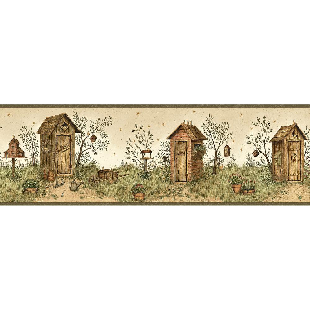 Twain Sand Garden Outhouse Portrait Wallpaper Border Sample