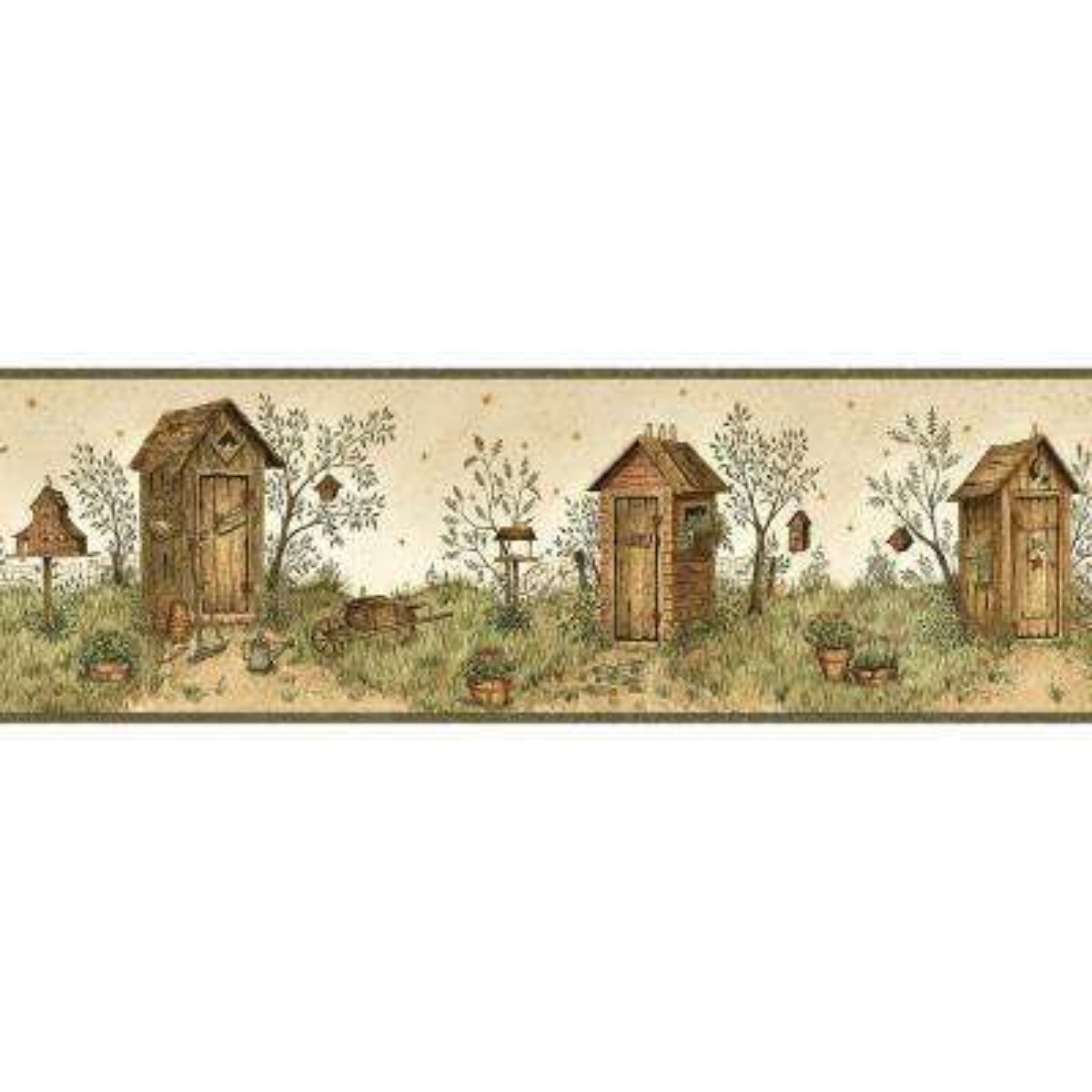 Twain Garden Outhouse Portrait Wallpaper Border