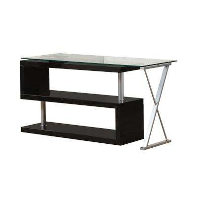 Buck 2 Piece Clear Gl And Black Office Suite Writing Desk