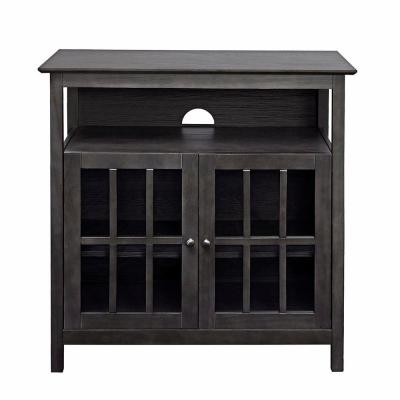 Designs2Go 19 in. Weathered Gray Wood TV Stand Fits TVs Up to 40 in. with Storage Doors