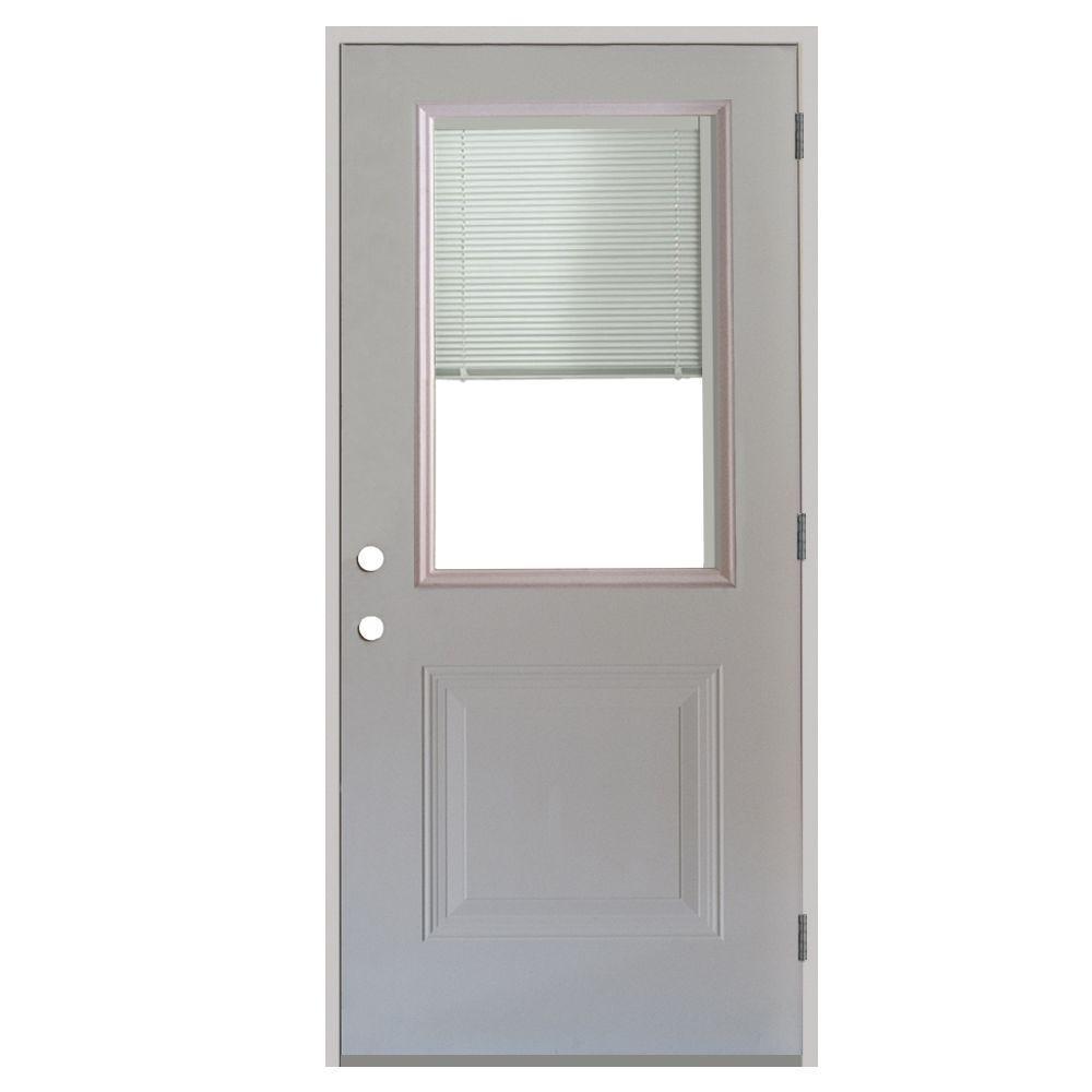 Superior 1 Panel 1/2 Lite Mini Blind Primed White Steel Prehung Front Door
