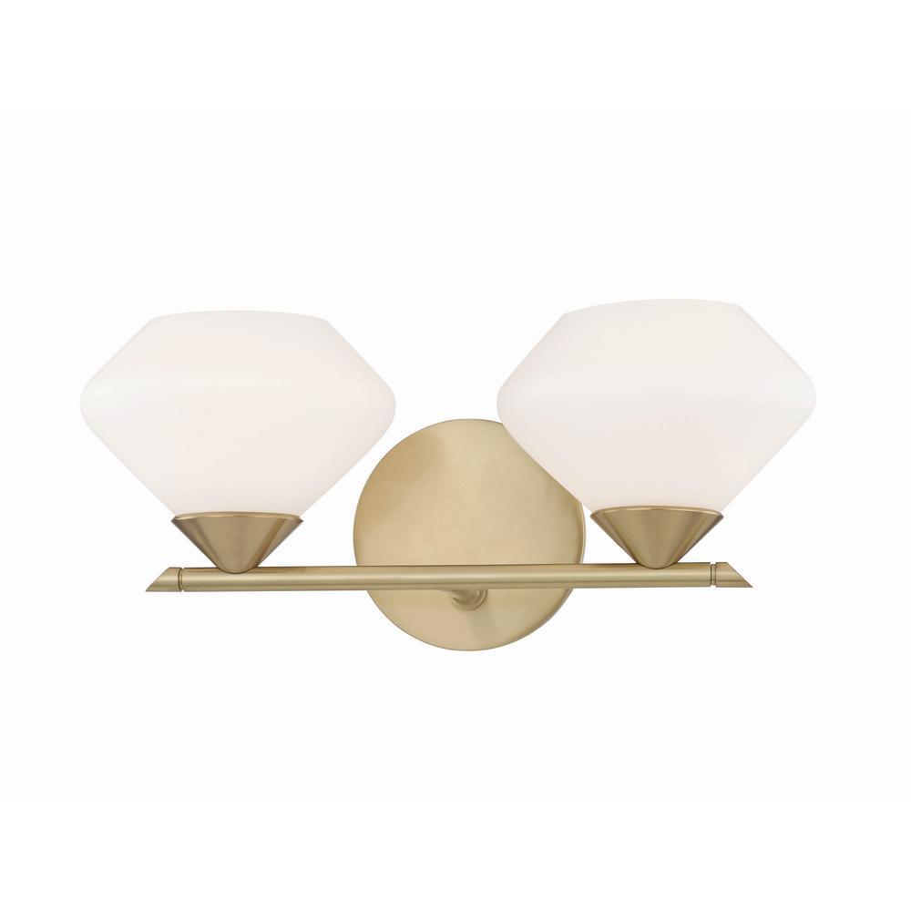 Valerie 2-Light Aged Brass Bath Light with Opal Matte Glass Shade