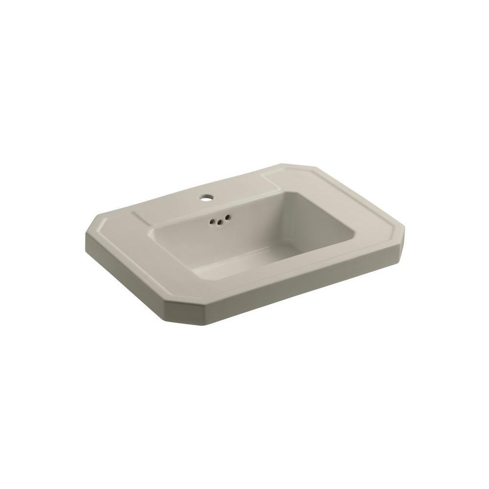 KOHLER Kathryn 4-1/8 in. Ceramic Pedestal Sink Basin in Sandbar with Overflow Drain
