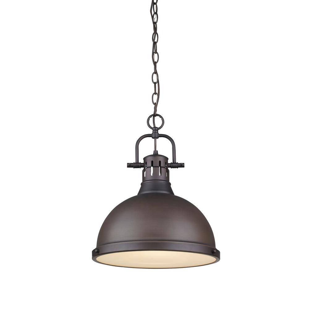 Golden Lighting Duncan 1 Light Rubbed Bronze Pendant With