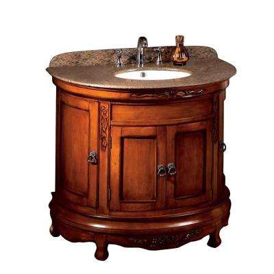 Victoria 36 in. W x 21 in. D Vanity in Cherry with Granite Vanity Top in Beige with White Basin
