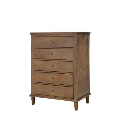 Cambridge 5-Drawers Oak Gray Wash Dresser