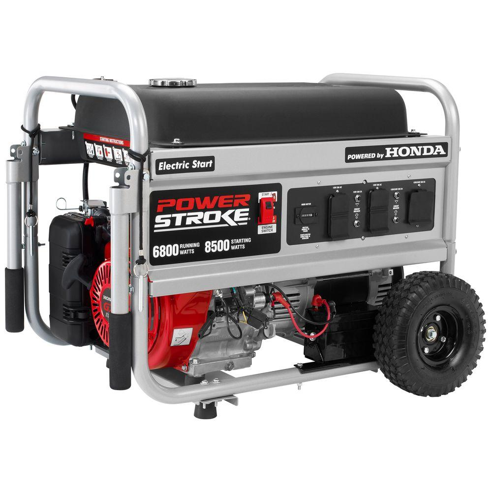 6,800 Watt Gasoline Powered Electric Start Portable Generator With Honda ...