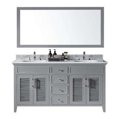 Elise 60 in. W x 22 in. D x 34.21 in. H Bath Vanity in Taupe Grey With White Marble Top With White Basins and Mirror