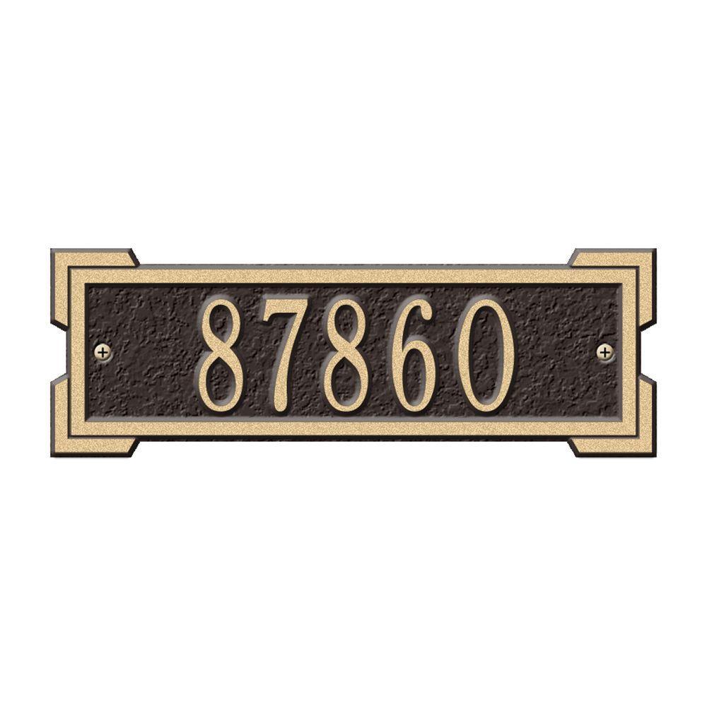 Whitehall Products Rectangular Roanoke Petite Wall 1-Line Address Plaque - Bronze/Gold