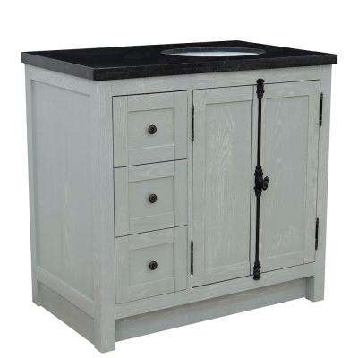 Plantation 37 in. W x 22 in. D x 36 in. H Bath Vanity in Gray Ash with Black Granite Vanity Top and Right Side Oval Sink