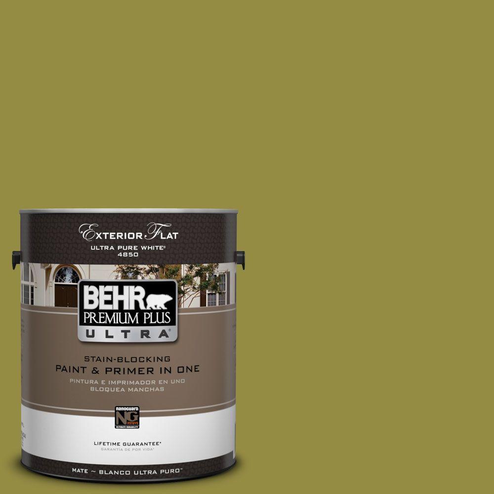 BEHR Premium Plus Ultra 1-Gal. #UL200-20 Retro Avocado Flat Exterior Paint