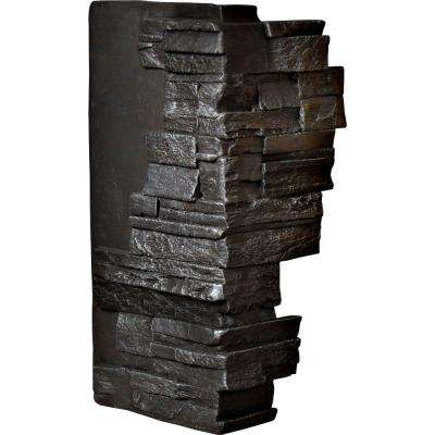 1-1/2 in. x 12 in. x 25 in. Graphite Urethane Dry Stack Stone Outer Corner Wall Panel