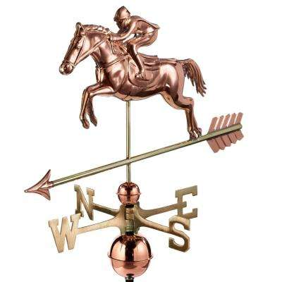 Jumping Horse and Rider Weathervane - Pure Copper