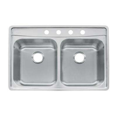 Evolution Drop-In Stainless Steel 33.5 in. 4-Hole 50/50 Double Bowl Kitchen Sink with Fast-In Installation System