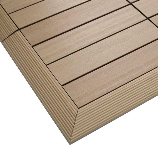 1/6 ft. x 1 ft. Quick Deck Composite Deck Tile Outside Corner Fascia in Canadian Maple (2-Pieces/Box)