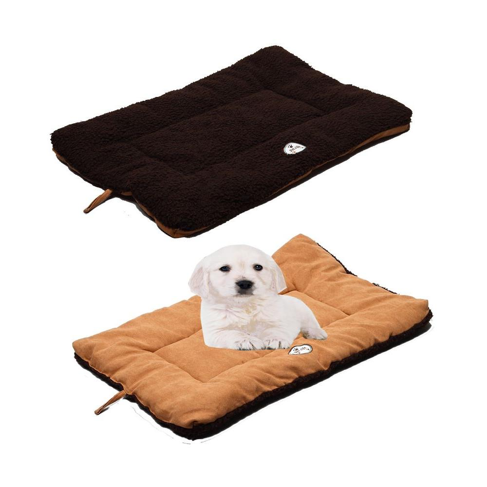 PET LIFE Eco-Paw Medium Brown and Cocoa Reversible Pet Bed