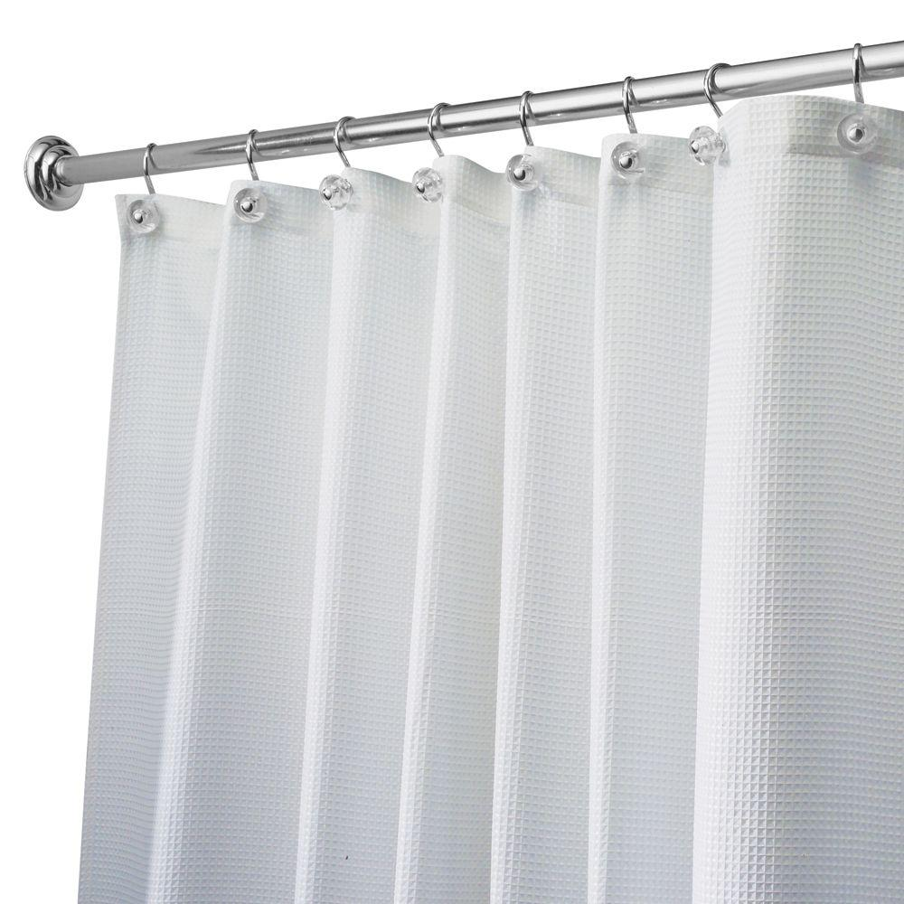 InterDesign Carlton Long Shower Curtain In White 22980