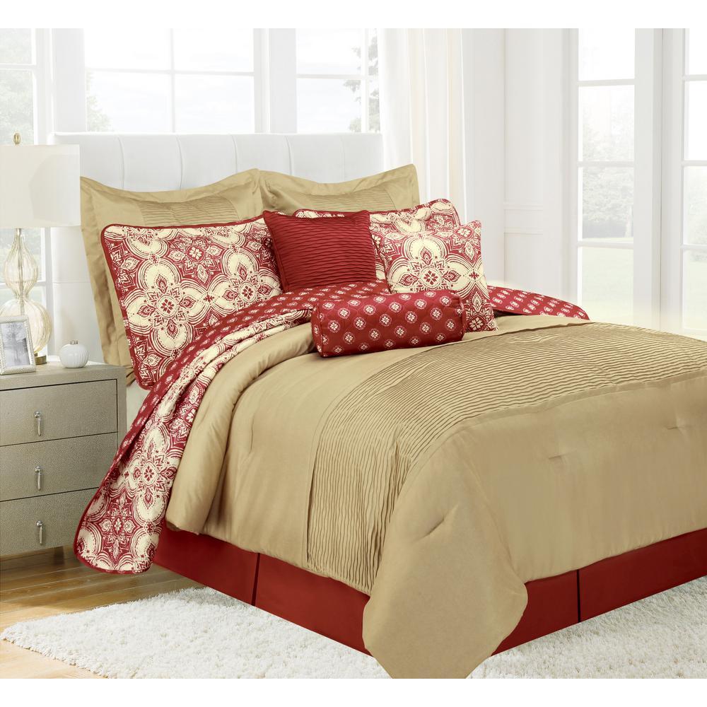 Patina Red King Microfiber 10-Piece Comforter Set