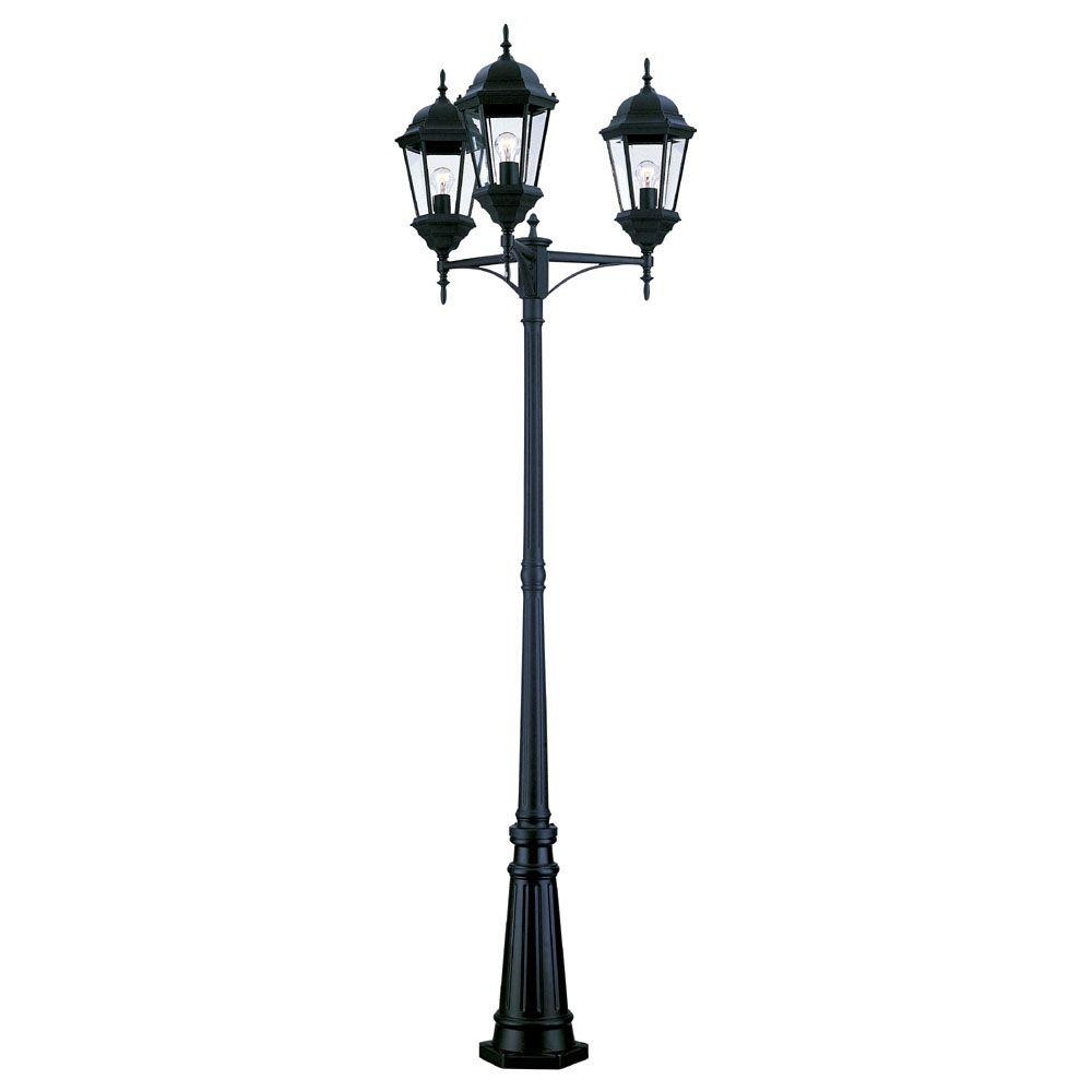 Acclaim Lighting Richmond 3-Head Matte Black Outdoor Surface-Mount Post Combination