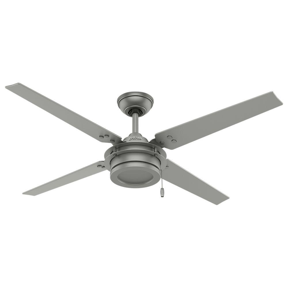 Hunter gunnar 54 in indooroutdoor matte silver ceiling fan 59208 hunter gunnar 54 in indooroutdoor matte silver ceiling fan 59208 the home depot mozeypictures Images