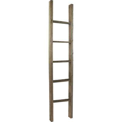 19 in. x 48 in. x 3 1/2 in. Barnwood Decor Collection Reclaimed Grey Vintage Farmhouse 3-Rung Ladder